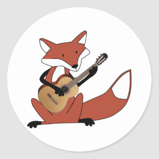 Fox Playing the Guitar Round Stickers