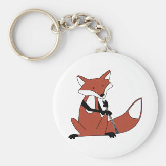 Fox Playing the Oboe Basic Round Button Key Ring