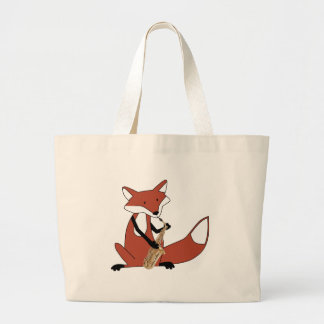 Fox Playing the Saxophone Large Tote Bag
