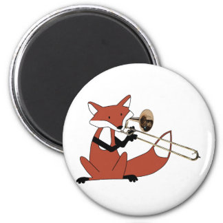 Fox Playing the Trombone 6 Cm Round Magnet