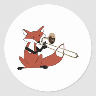 Fox Playing the Trombone Classic Round Sticker