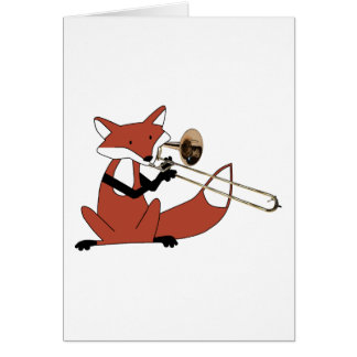 Fox Playing the Trombone Greeting Card
