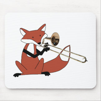 Fox Playing the Trombone Mouse Mat