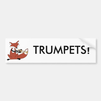 Fox Playing the Trumpet Bumper Sticker