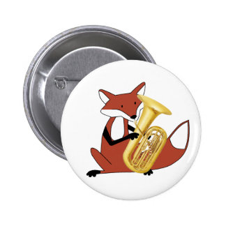 Fox Playing the Tuba 6 Cm Round Badge