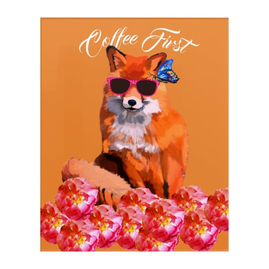 Fox Poster Custom Text Acrylic Wall Art, Coffee Acrylic Print