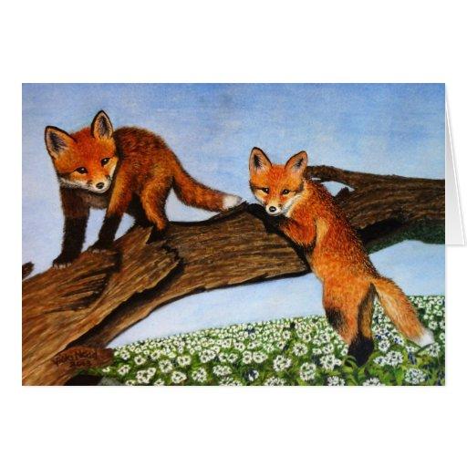 Fox Pups and Wild Garlic Greeting Card
