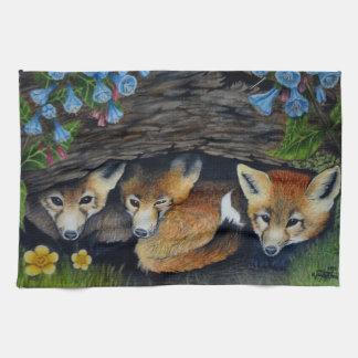 Fox Pups Tea Towel
