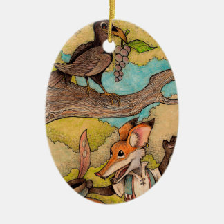 Fox & Raven from Aesop's Fables Christmas Ornament