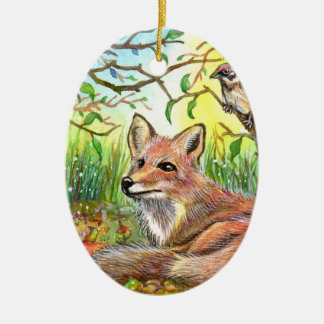 Fox Resting With Sparrow Christmas Ornament