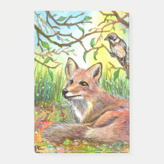 Fox Resting With Sparrow Post-it® Notes