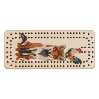 Fox & Rooster Cribbage Board Maple Cribbage Board