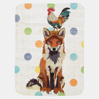 Fox & Rooster Polkadot Baby Blanket