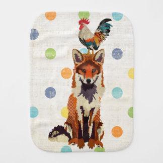 Fox & Rooster Polkadot Burp Cloth