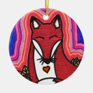 Fox Round Ceramic Decoration