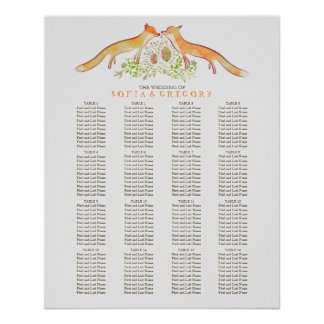 Fox Rustic Woodland Wedding Seating Chart Poster