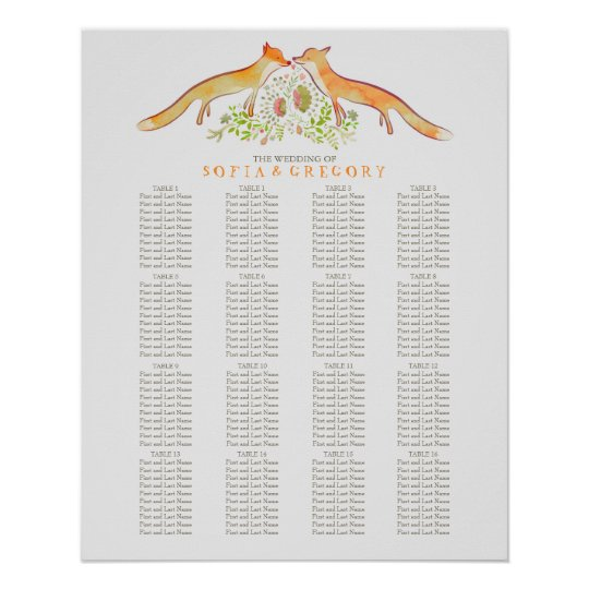 Fox Rustic Woodland Wedding Seating Chart Poster