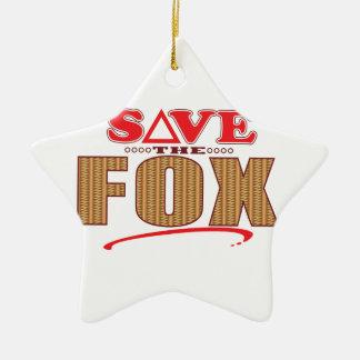 Fox Save Ceramic Star Decoration