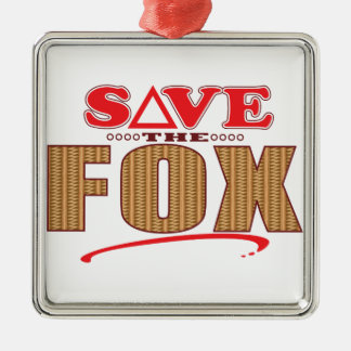 Fox Save Silver-Colored Square Decoration