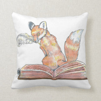 Fox Scribe Throw Pillow