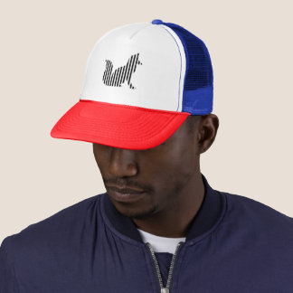 Fox silhouette on stripes trucker hat