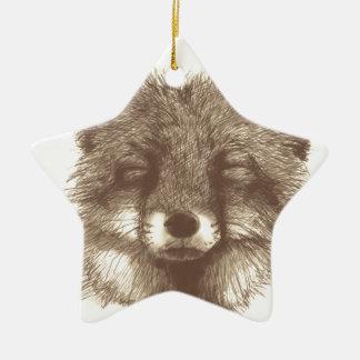 Fox sketch ceramic star decoration
