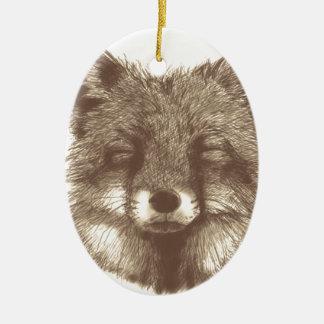 Fox sketch christmas ornament