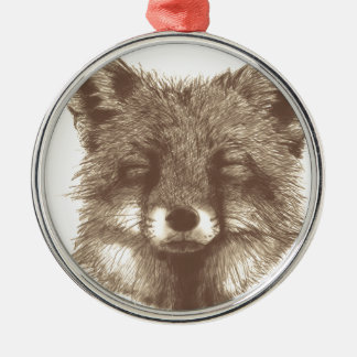 Fox sketch Silver-Colored round decoration