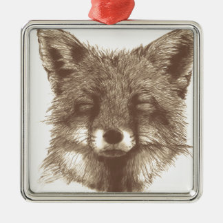 Fox sketch Silver-Colored square decoration