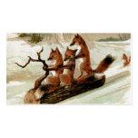 Fox Sleigh Ride Vintage Print Business Card Templates