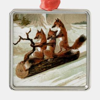 Fox Sleigh Ride Vintage Print Christmas Ornament