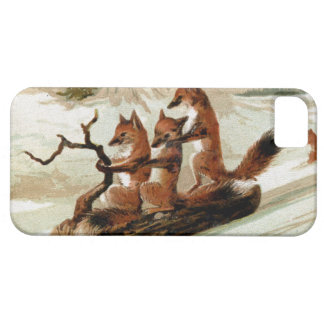 Fox Sleigh Ride Vintage Print iPhone 5 Cases