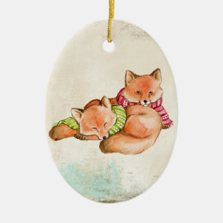 Fox Snuggles Ornament