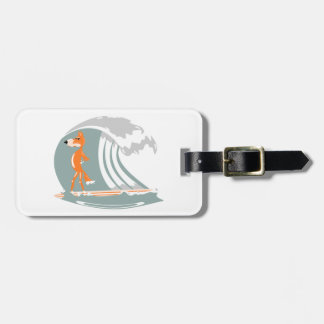 Fox Standing on a Surfboard Luggage Tag