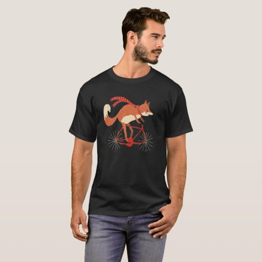 Fox T Shirt Fox On A Bicycle T