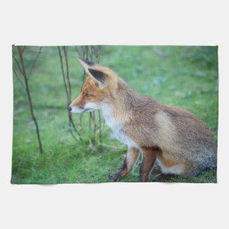 fox tea towel, foxy kitchen towel, fox home decor tea towel