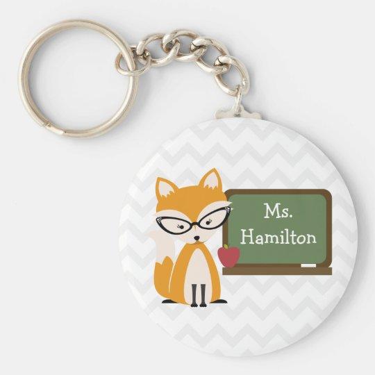 Fox Teacher At Chalkboard Key Ring