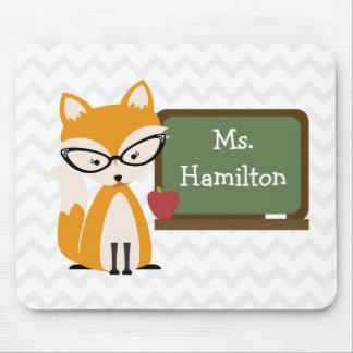 Fox Teacher At Chalkboard Mouse Pad