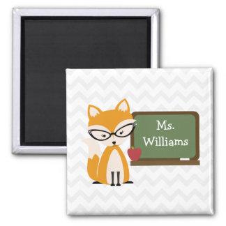 Fox Teacher At Chalkboard Square Magnet