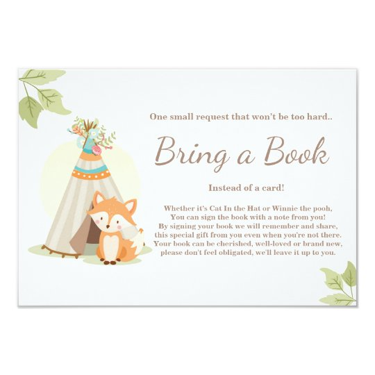 Fox Teepee Bring a book card Woodland Baby