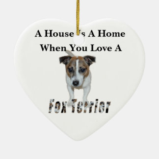 Fox Terrier And Fox Terrier Love Logo, Christmas Ornament
