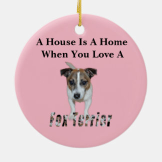 Fox Terrier And Fox Terrier Love Logo, Christmas Ornament