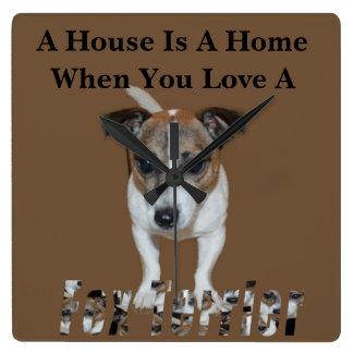 Fox Terrier And Fox Terrier Love Logo, Square Wall Clock