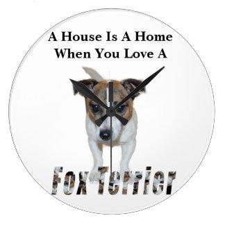 Fox Terrier And Fox Terrier Love Logo, White Large Clock