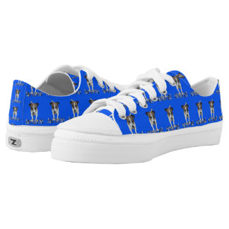 Fox Terrier And Logo, Blue Unisex Zipz Sneakers. Printed Shoes