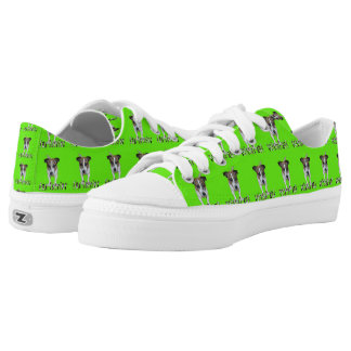 Fox Terrier And Logo, Green  Zipz Sneakers. Printed Shoes