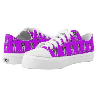 Fox Terrier And Logo, Purple  Zipz Sneakers. Printed Shoes
