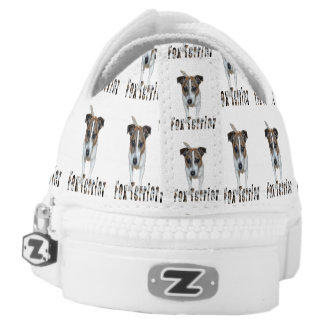 Fox Terrier And Logo, White Unisex Zipz Sneakers. Printed Shoes