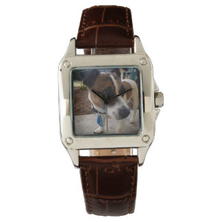 Fox Terrier, Attraction ,Ladie Brown Leather Watch