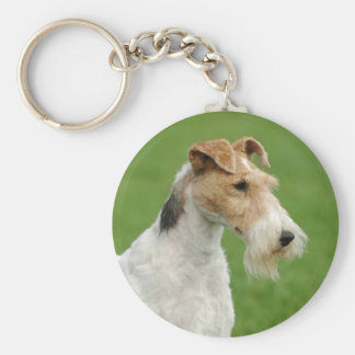 Fox Terrier Basic Round Button Key Ring